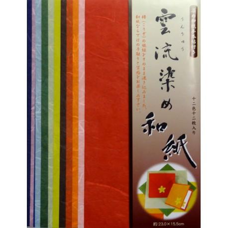 Papier japonais unryû washi 23 x 15,5 cm - 12 feuilles