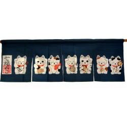 Blue cotton Noren - Shichi fuku Neko