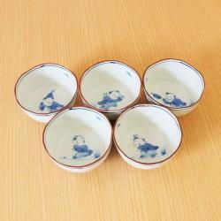 Aritayaki Tea bowls 5 pcs - Karako print