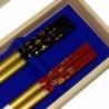 Paires de baguettes en bois laqué - boite en kiri