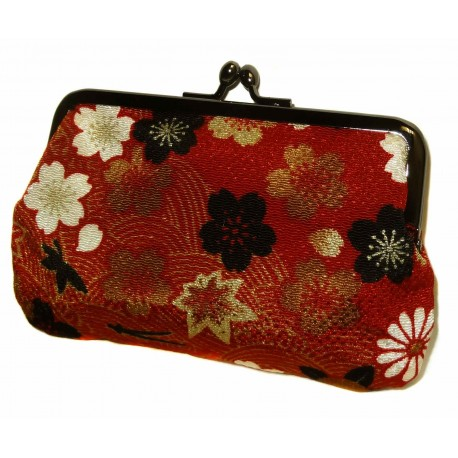 Porte-monnaie japonais en chirimen - Sakura (fleurs de cerisier)