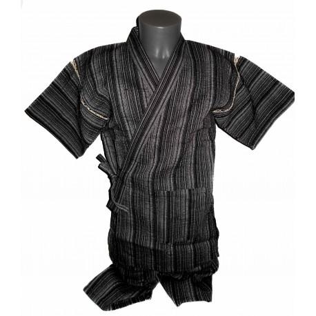Tunique japonaise Jinbei 97 noir chiné - Taille L - Coton