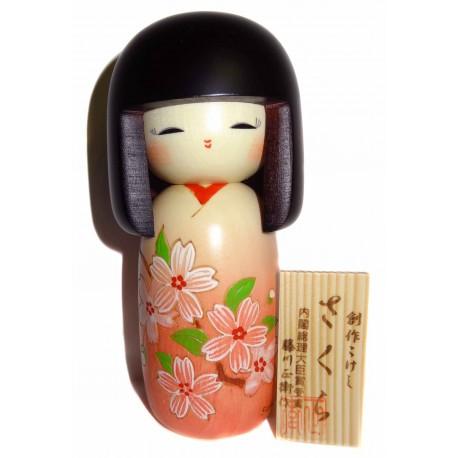 Poupée Kokeshi - Sakura. Poupées japonaises artisanales en bois.