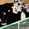 Furoshiki 50x50 noir - Genji Monogatari. Tissus  et textile japonais.