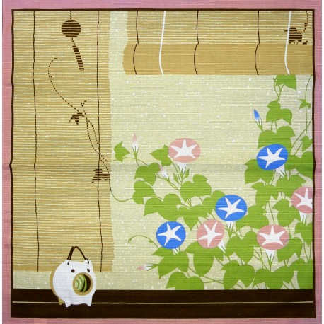 Furoshiki 50x50 beige - Summer. Japanese cloths and fabrics.