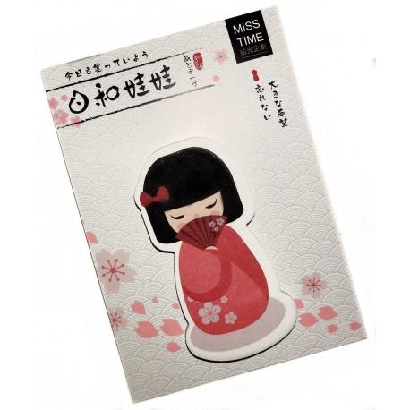 Kokeshi sticky memo - Fan. Japanese stationery products.