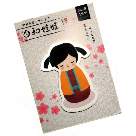 Kokeshi sticky memo - Bunches. Japanese stationery products.