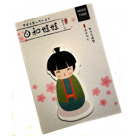 Kokeshi sticky memo - Chonmage. Japanese stationery products.
