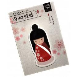 Kokeshi sticky memo - Flowers