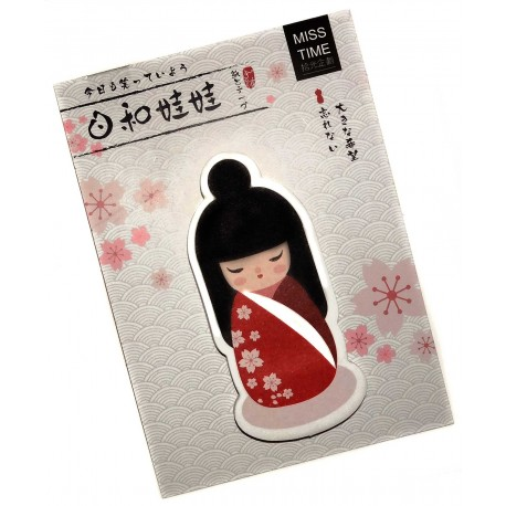 Kokeshi sticky memo - Flowers. Japanese stationery products.