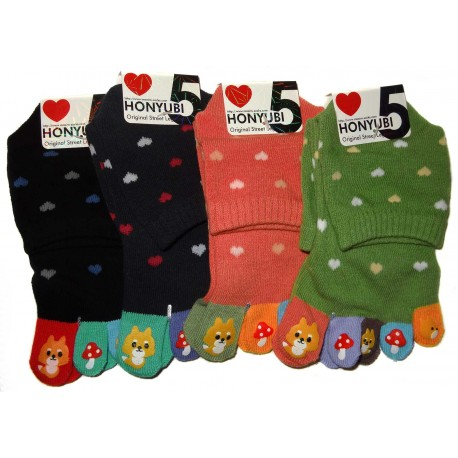 5-toes socks - Size 36 to 40  - Fox print