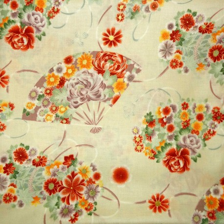 Tissu 200 x 110 cm - Motifs Ôgimon. Tissus japonais