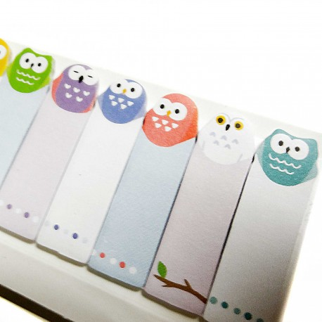 Owls sticky bookmarks. Japanese stationery products.