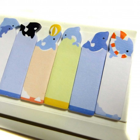 Dolphins sticky bookmarks. JHapanese stationery products.