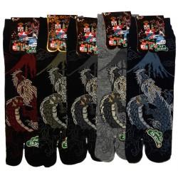 Chaussettes japonaises tabi - Du 43 au 46 - Motifs de Dragon et Mont Fuji