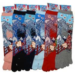 Chaussettes 5 orteils mi-mollet - Du 35 au 39 - Maiko et vague