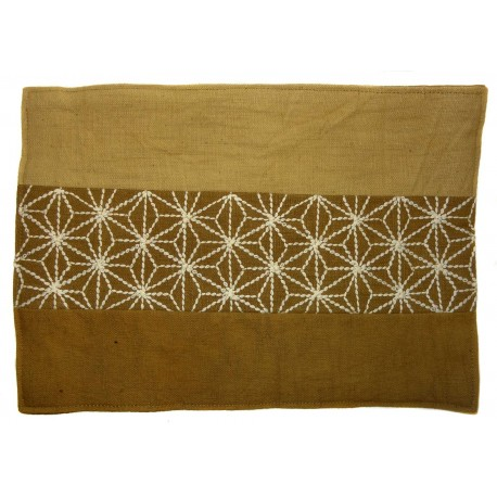 Table Mat - Sashiko Asanoha - Mustard. Japanese interior decoration