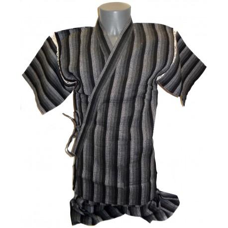 Tunique japonaise Jinbei 107 noir et grise - Taille M - Coton