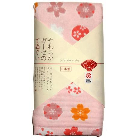 Serviette en gaze 90x34 cm - Fleurs de cerisiers