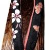 Geta 24 cm – Bride noire imprimés Sakura Chô. Sandales japonaises