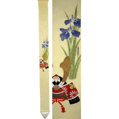 Slim hanging tapestry - Kabuto. Japanese home decoration.