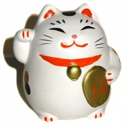 Maneki Neko blanc - Patte droite - 7.5 cm