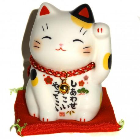 Maneki Neko patte gauche - 9 cm. Chat porte-bonheur japonais.