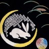 Tenugui - reversible - Moon rabbit. Japanese cloth and textile. Japanese decoration