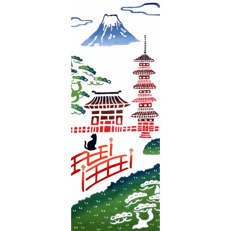 Tenugui - reversible - Mount fuji and Pagoda. Japanese cloth and textile. Japanese decoration