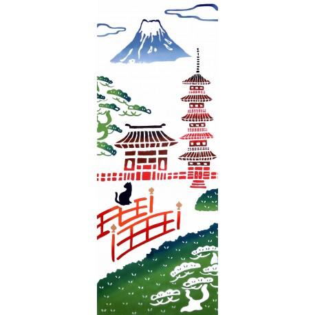 Tenugui réversible - Mont Fuji et Pagode.  Tissu et textile japonais. Décoration japonaise.