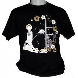 T-shirt noir - Maiko et Mont Fuji