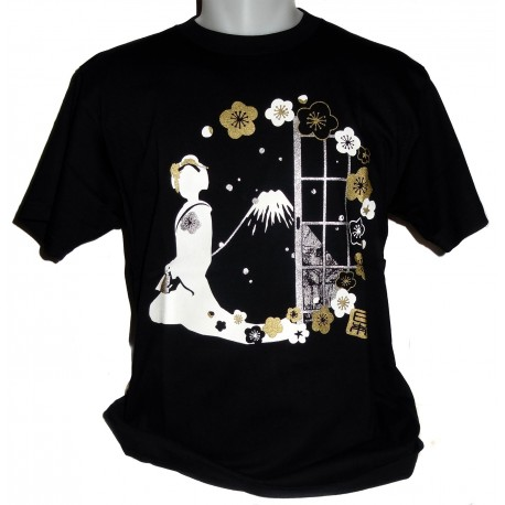 T-shirt - Black - Maiko and Mount Fuji