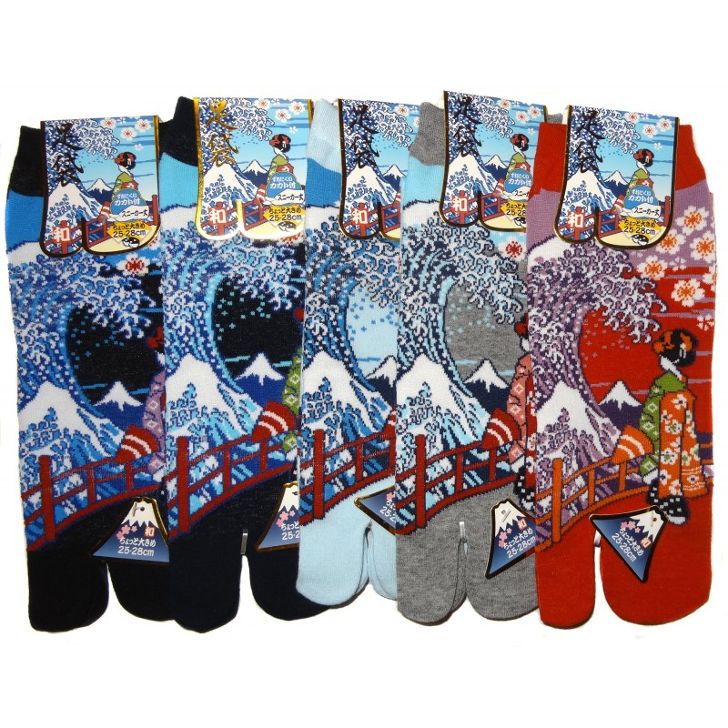 a69fc52fef8 Japanese Tabi split toes socks - Size 39 to 43 - Maiko and great wave.