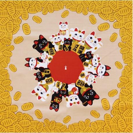 Furoshiki 50x50 crème - Maneki Neko. Tissus et textile japonais
