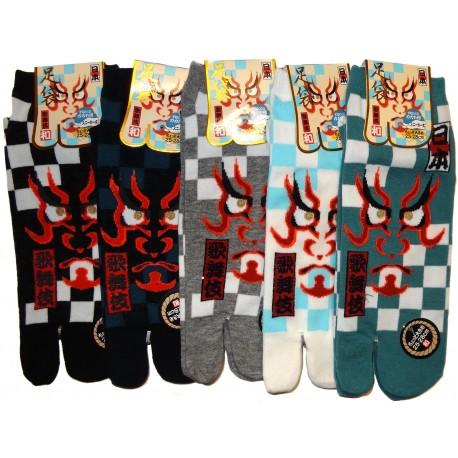 Chaussettes japonaises tabi - Du 39 au 43 - Masque de Kabuki. Chaussettes doigts de pied.