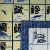 Furoshiki tissu japonais 50x50 bleu et crème - Motifs de noms de poissons