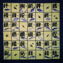 Furoshiki tissu 50x50 bleu et crème - Motifs de noms de poissons