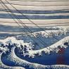 Furoshiki Japanese cloth 50x50 - - The Lone Fisherman at Kajikazawa