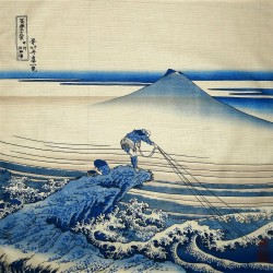 Furoshiki cloth 50x50 - The Lone Fisherman at Kajikazawa
