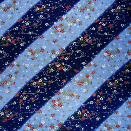Furoshiki 67x67 - Blue - Sakura. Chiremen rayon crêpe
