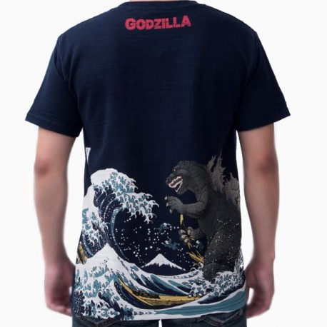 T-shirt Godzilla Great wave Ukiyo-e