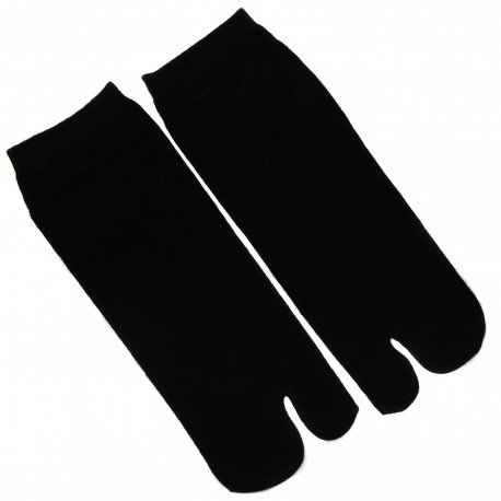 Tabi socks - Size 35 to 39 - Solid black color. Split toes socks