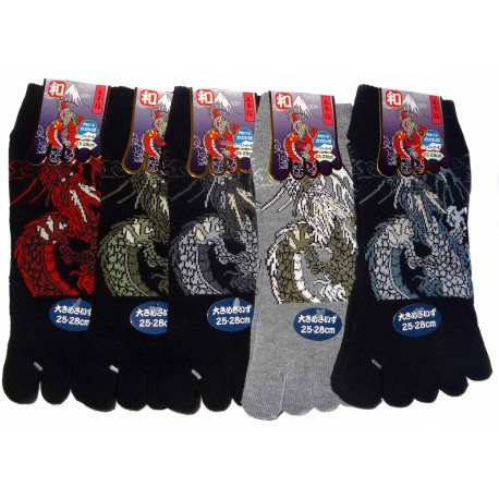 5-toes socks Size 39 to 43 - Dragon and Mount Fuji. Split toes socks.