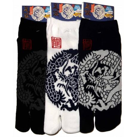Chaussettes japonaises tabi - Du 39 au 43 - Motifs de dragons. Chaussettes à orteils séparés.