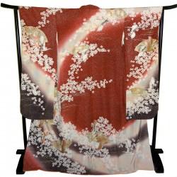 Furisode kimono - Red - Ogimon and cranes