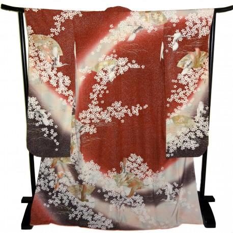 Kimono Furisode rouge - motifs Ôgimon et grues