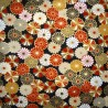 Japanese cloth 52x52 black - Chrysanthemums