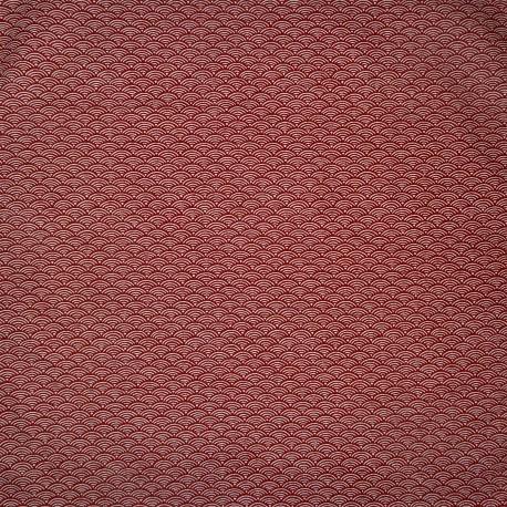 Carré de tissu japonais 52 x 52 rouge brique - Motifs Seigaha