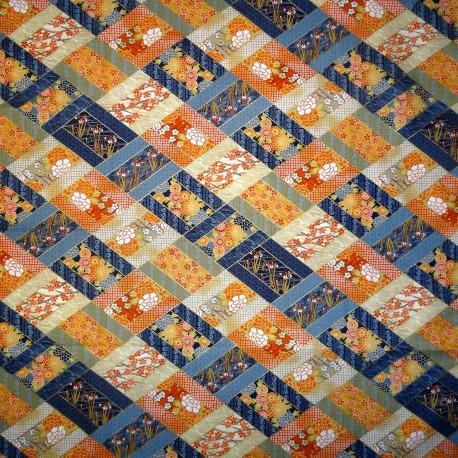 Carré de tissu japonais 52 x 52 bleu - Motifs floraux