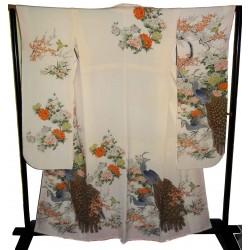 Kimono Furisode écru - Paons et fleurs